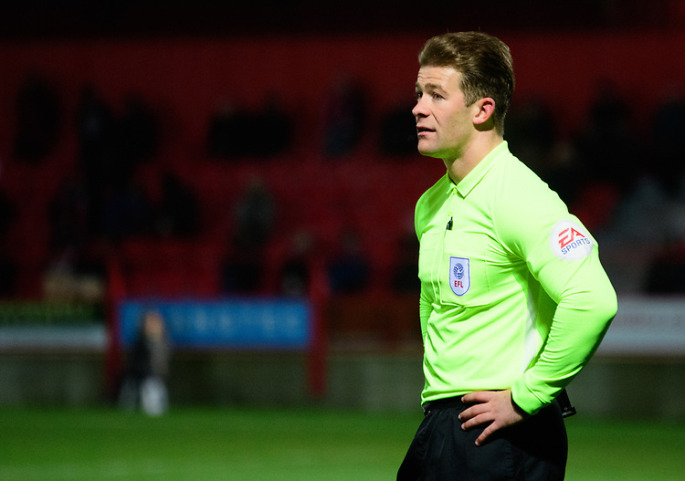 Referee Anthony Backhouse<br /> <br /> Photographer Andrew Vaughan/CameraSport<br /> <br /> The EFL Checkatrade Trophy Second Round - Accrington Stanley v Lincoln City - Crown Ground - Accrington<br />  <br /> World Copyright &copy; 2018 CameraSport. All rights reserved. 43 Linden Ave. Countesthorpe. Leicester. England. LE8 5PG - Tel: +44 (0) 116 277 4147 - admin@camerasport.com - www.camerasport.com