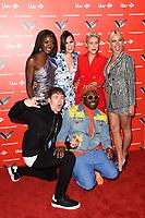LONDON, UK. June 06, 2019: Aj Odudu, Danny Jones, Jessie J, Emma Willis, Pixie Lott & Will.i.Am at The Voice Kids UK 2019 photocall, London.<br /> Picture: Steve Vas/Featureflash