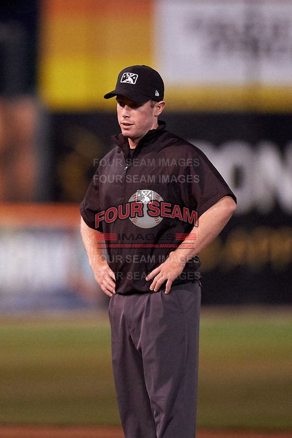 Field umpire Chris Presley-Murphy during a California League game between the Visalia Rawhide and San Jose Giants on April 12, 2019 at San Jose Municipal Stadium in San Jose, California. Visalia defeated San Jose 6-2. (Zachary Lucy/Four Seam Images)
