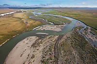 Aerial of Outwash Creek that drains into the Coleville river, arctic, Alaska.