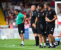 Lincoln City manager Danny Cowley, left, and Nicky Cowley in the technical area<br /> <br /> Photographer Andrew Vaughan/CameraSport<br /> <br /> The EFL Sky Bet League Two - Lincoln City v Swindon Town - Saturday August 11th 2018 - Sincil Bank - Lincoln<br /> <br /> World Copyright &copy; 2018 CameraSport. All rights reserved. 43 Linden Ave. Countesthorpe. Leicester. England. LE8 5PG - Tel: +44 (0) 116 277 4147 - admin@camerasport.com - www.camerasport.com