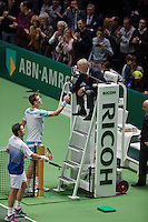 Februari 15, 2015, Netherlands, Rotterdam, Ahoy, ABN AMRO World Tennis Tournament, Tomas Berdych (CZE) - Stan Wawrinka (SUI) thanking  umpire Gerry Armstrong<br /> Photo: Tennisimages/Henk Koster