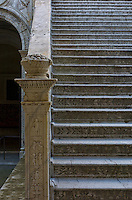 "One of the historically rich staircases in Venice, a city in northeast Italy which is renowned for the beauty of its setting, its architecture and its artworks. It is the capital of the Veneto region. In 2009, there were 270,098 people residing in Venice's comune (the population estimate of 272,000 inhabitants includes the population of the whole Comune of Venezia; around 60,000 in the historic city of Venice (Centro storico); 176,000 in Terraferma (the Mainland), mostly in the large frazioni of Mestre and Marghera; 31,000 live on other islands in the lagoon). Together with Padua and Treviso, the city is included in the Padua-Treviso-Venice Metropolitan Area (PATREVE) (population 1,600,000)...The name is derived from the ancient Veneti people who inhabited the region by the 10th century B.C. The city historically was the capital of the Venetian Republic. Venice has been known as the ""La Dominante"", ""Serenissima"", ""Queen of the Adriatic"", ""City of Water"", ""City of Masks"", ""City of Bridges"", ""The Floating City"", and ""City of Canals"". Luigi Barzini described it in The New York Times as ""undoubtedly the most beautiful city built by man"". Venice has also been described by the Times Online as being one of Europe's most romantic cities...The city stretches across 117 small islands in the marshy Venetian Lagoon along the Adriatic Sea in northeast Italy. The saltwater lagoon stretches along the shoreline between the mouths of the Po (south) and the Piave (north) Rivers...The Republic of Venice was a major maritime power during the Middle Ages and Renaissance, and a staging area for the Crusades and the Battle of Lepanto, as well as a very important center of commerce (especially silk, grain, and spice) and art in the 13th century up to the end of the 17th century. This made Venice a wealthy city throughout most of its history. It is also known for its several important artistic movements, especially the Renaissance period. Venice has played an important role in the history o"
