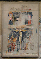 Fresco of the crucifixion, 14th century, in the Chiesa S. Giorgetto dei Domenicani, also known as S. Pietro Martire, 1283, Verona, Italy. The Church, built by the Dominicans, contains  many 14th century frescoes. Picture by Manuel Cohen.