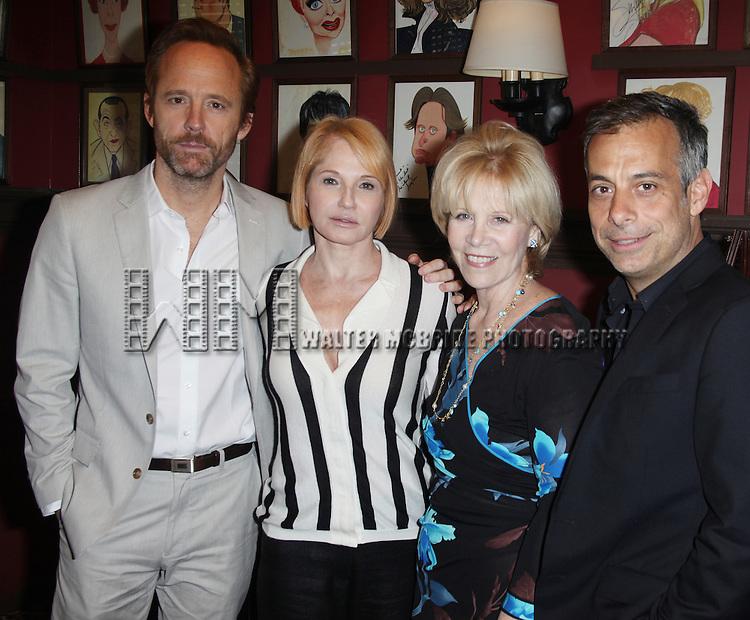 Sardi's unveils Caricatures of 'The Normal Heart' Tony Award Nominees Ellen Barkin, John Benjamin Hickey & Joe Mantello with Producer Daryl Roth at Sardi's in New York City.