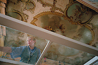 Saint Petersburg, Russia, August 2002..The city is undergoing major renovation in advance of the 300th anniversary in  May 2003.  Repairing the interior of the Catherine Palace at Pushkin.