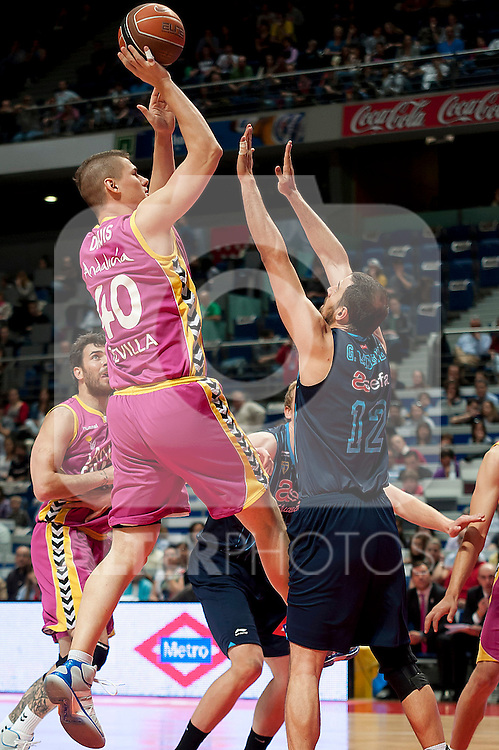 Asefa Estudiantes' German Gabriel (r) and Banca Civica's Paul Davis during Liga Endesa ACB match.April 1,2012. (ALTERPHOTOS/Ricky)