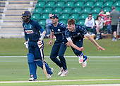 Cricket Scotland - Scotland V Sri Lanka at Kent County cricket ground at Benkenham, in the first of two matches this week, on Sunday (today) and Tuesday - picture shows Stuart Whittingham bowling on International debut, going on to take a 3 wicket haul  - picture by Donald MacLeod - 21.05.2017 - 07702 319 738 - clanmacleod@btinternet.com - www.donald-macleod.com