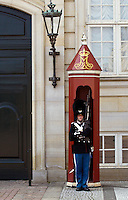 Ceremonial guard in sentry box at Christiansbourg Palace, Copenhagen, Denmark.