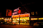 Washington, Seattle: Pike Place Market at Night.  Photo #waseat103..Photo copyright Lee Foster, www.fostertravel.com, 510/549-2202, lee@fostertravel.com