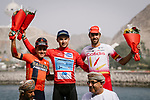 The final podium 1st overall Alexey Lutsenko (KAZ) Astana Pro Team, Domenico Pozzovivo (ITA) Bahrain-Merida finishes 2nd overall and Jesus Herrada (ESP) Cofidis 3rd after Stage 6 of the 10th Tour of Oman 2019, running 135.5km from Al Mouj Muscat to Matrah Corniche, Oman. 21st February 2019.<br /> Picture: ASO/P. Ballet | Cyclefile<br /> All photos usage must carry mandatory copyright credit (&copy; Cyclefile | ASO/P. Ballet)