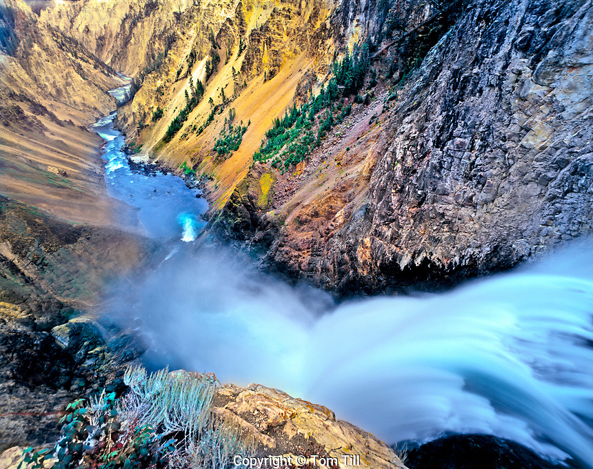 Brink of Lower Falls and Yellowstone Canyon, Yellowstone National Park, Wyoming