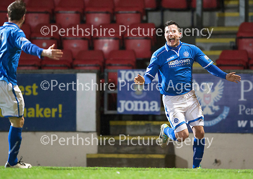 St Johnstone v Motherwell....25.02.14    SPFL<br /> Gary Miller celebrates his goal<br /> Picture by Graeme Hart.<br /> Copyright Perthshire Picture Agency<br /> Tel: 01738 623350  Mobile: 07990 594431