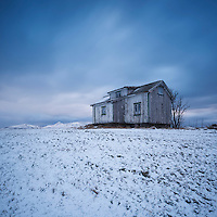 Abandoned house in winter, Vestvågøy, Lofoten Islands, Norway