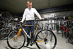 Jochen Bessemans, Ridley PR & Marketing Manager shows me the cyclocross disc bikes in the factory in Paal-Beringen, Belgium, 21st March 2013 (Photo by Eoin Clarke 2013)