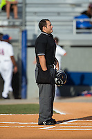 Home plate umpire Garon Keuten prior to the Appalachian League game between the Elizabethton Twins and the Kingsport Mets at Hunter Wright Stadium on July 9, 2015 in Kingsport, Tennessee.  The Twins defeated the Mets 9-7 in 11 innings. (Brian Westerholt/Four Seam Images)