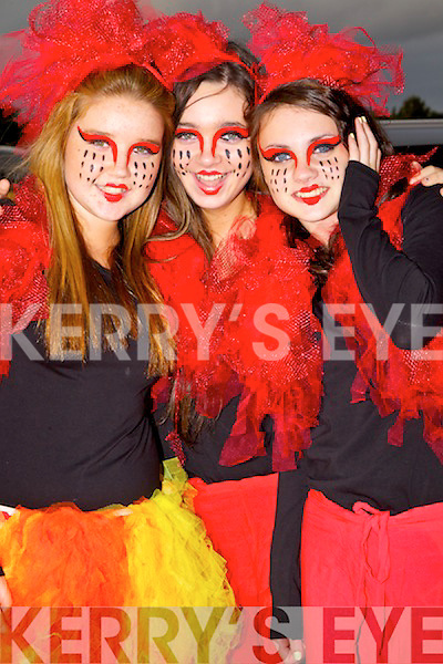 Members of the Bryan Carr School of Performing Arts from left: Rachel Farrell, Clodagh Harrington and Aoife Lynch.. at the Rose of Tralee parade on Saturday night.
