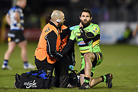 Cobus Reinach of Northampton Saints is treated for an injury. Aviva Premiership match, between Bath Rugby and Northampton Saints on February 9, 2018 at the Recreation Ground in Bath, England. Photo by: Patrick Khachfe / Onside Images
