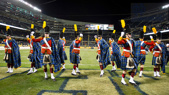 Oct. 6, 2012; Irish Guard do a victory dance after Notre Dame won 41 to 3 over Miami in the Shamrock Series at Soldier Field in Chicago. Photo by Barbara Johnston/University of Notre Dame..