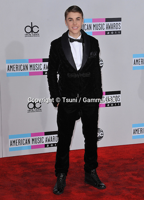 Justin Bieber  at the AMA Awards 2011 at the Nokia Theatre in Los Angeles.