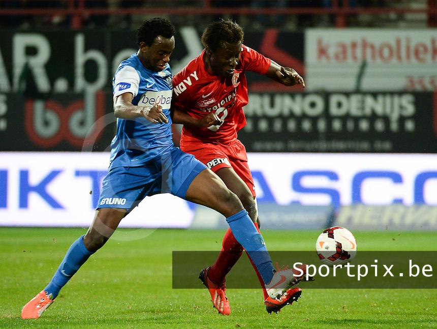 KV Kortrijk - Racing Genk : duel tussen Elimane Coulibaly (r) en Bennard Kumordzi (l)<br /> foto VDB / BART VANDENBROUCKE