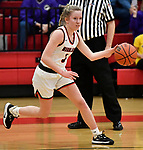 Highland guard Liv Wilke dribbles. Highland played Civic Memorial in the Class 3A Effingham sectional championship game at Effingham High School in Effingham, Illinois on Thursday February 27, 2020. <br /> Tim Vizer/Special to STLhighschoolsports.com