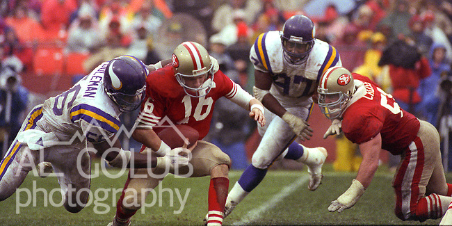San Francisco 49ers vs  Minnesota Vikings  at Candlestick Park Saturday, January 9, 1988.. Vikings beat 49ers 36-24.Minnesota Vikings Linebacker Chris Doleman (56) sacks San Francisco 49ers Quarterback Joe Montana (16)....