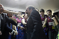 FC Barcelona Regal's President Sandro Rosell celebrates with the players the victory in the Spanish Basketball King's Cup Final match.February 07,2013. (ALTERPHOTOS/Acero)