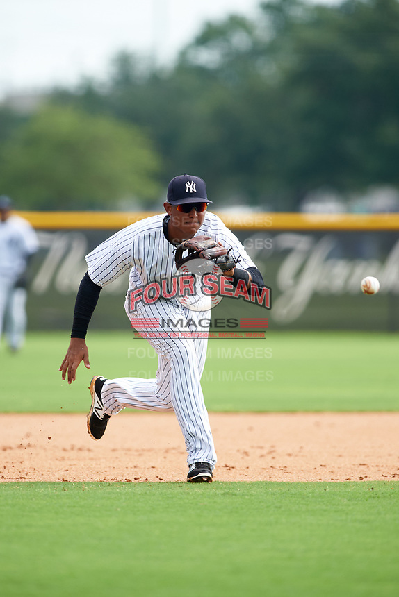 GCL Yankees East third baseman Lisandro Blanco (14) fields a ground ball during the first game of a doubleheader against the GCL Yankees West on July 19, 2017 at the Yankees Minor League Complex in Tampa, Florida.  GCL Yankees West defeated the GCL Yankees East 11-2.  (Mike Janes/Four Seam Images)