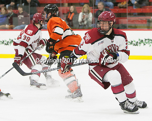 Tyler Moy (Harvard - 2) - The Harvard University Crimson defeated the visiting Princeton University Tigers 5-0 on Harvard's senior night on Saturday, February 28, 2015, at Bright-Landry Hockey Center in Boston, Massachusetts.