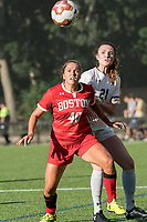 NEWTON, MA - AUGUST 29: Jenna Oldham of Boston University and Riley Lochhead #21 of Boston College battle for a throw in during a game between Boston University and Boston College at Newton Campus Field on August 29, 2019 in Newton, Massachusetts.