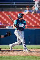 Lynchburg Hillcats center fielder Tre Gantt (8) follows through on a swing during the first game of a doubleheader against the Frederick Keys on June 12, 2018 at Nymeo Field at Harry Grove Stadium in Frederick, Maryland.  Frederick defeated Lynchburg 2-1.  (Mike Janes/Four Seam Images)
