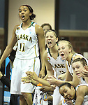SIOUX FALLS MARCH 22:  Players on the Alaska Anchorage bench celebrate a basket in the second quarter of their game agains Francis Marion during their quarterfinal game at the NCAA Women's Division II Elite 8 Tournament at the Sanford Pentagon in Sioux Falls, S.D.  (Photo by Dick Carlson/Inertia)