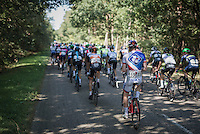 easy paced peloton through the woods<br /> <br /> 12th Eneco Tour 2016 (UCI World Tour)<br /> Stage 6: Riemst › Lanaken (185km)