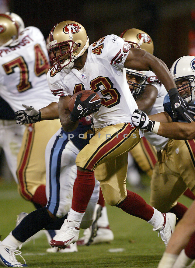Maurice Hicks, of the San Francisco 49ers, during game action against Tennessee Titans on August 26, 2005...49ers win 16-13...SportPics