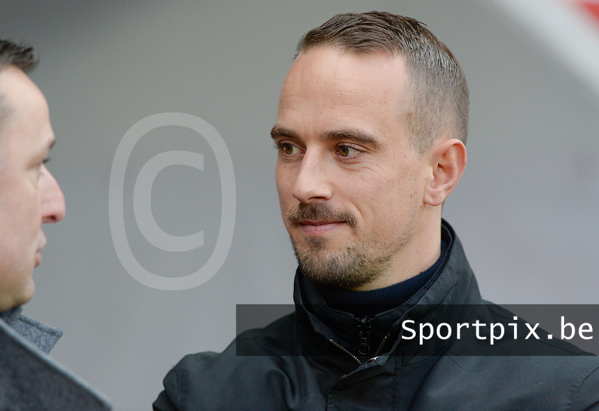 20160408 - ROTHERHAM , ENGLAND : English Head Coach Mark Sampson pictured during the female soccer game between England and The Belgian Red Flames - Belgium , the fourth game in the qualification for the European Championship in The Netherlands 2017  , Friday 8 th April 2016 at AESSEAL New York Stadium in Rotherham , England . PHOTO DAVID CATRY
