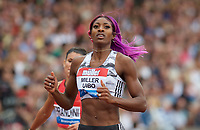 Shaunae Miller-Uibo (Bahamas) after winning the Women's 200m Final during the Muller Grand Prix  IAAF Diamond League meeting at Alexander Stadium, Perry Barr, Birmingham.<br /> Picture by Alan Stanford +44 7915 056117<br /> 18/08/2018