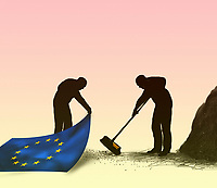 Man sweeping dirt under European Union carpet