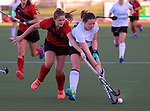 Action from the National Women's Association Under-18 Hockey Tournament final between Canterbury and Waikato at Twin Turfs in Clareville, New Zealand on Saturday, 15 July 2017. Photo: Dave Lintott / lintottphoto.co.nz