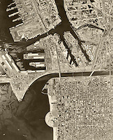 historical aerial photograph Long Beach, California, 1963