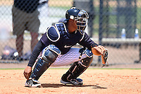 GCL Yankees 1 catcher Roybell Herrera (60) during the first game of a doubleheader against the GCL Braves on July 1, 2014 at the Yankees Minor League Complex in Tampa, Florida.  GCL Yankees 1 defeated the GCL Braves 7-1.  (Mike Janes/Four Seam Images)