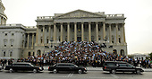Washington, DC - August 29, 2009 -- The hearse carrying U.S. Senator Ted Kennedy arrives at the U.S. Capitol in front of the Senate steps during the funeral procession. On the steps are friends, staffers and members of congress.  .Credit: Ricky Carioti  - Pool via CNP