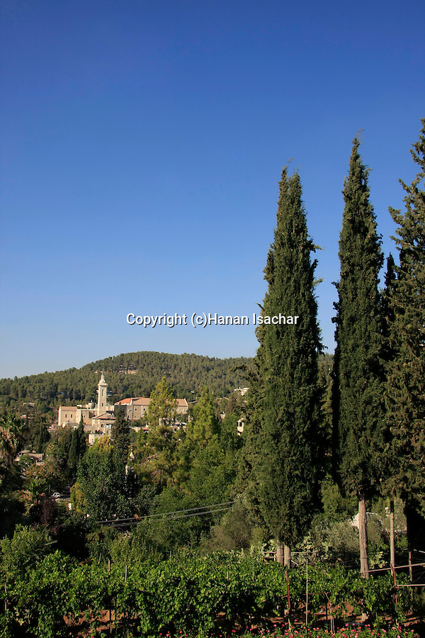 Israel, Jerusalem Mountains, a view of Ein Karem from St. Vincent