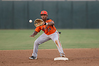 AZL Giants Orange second baseman Wascer De Leon (34) receives a ball on an attempted double play during an Arizona League game against the AZL Athletics at Lew Wolff Training Complex on June 25, 2018 in Mesa, Arizona. AZL Giants Orange defeated the AZL Athletics 7-5. (Zachary Lucy/Four Seam Images)