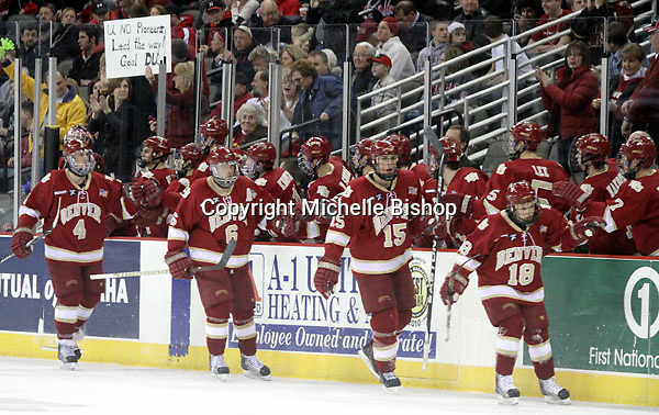 Denver celebrates a goal during the second period. Nebraska-Omaha beat Denver 5-2 Friday night at Qwest Center Omaha. (Photo by Michelle Bishop)