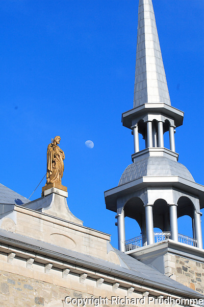 Statue of  Saint-Joseph on top of Saint-Joseph's church in Deschambault on the bank of Cap Lauzon, along the chemin du roy between Three-Rivers and Saint-Foy Quebec.