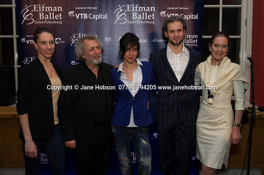 London, UK. 15.04.2014. Eifman Ballet after-party on press night for the opening of Rodin, Sky Bar, London Coliseum. Pictured: Boris Eifman (second left), Lyubov Andreyeva , Oleg Gabyshev, Lorraine Chase. Photograph © Jane Hobson.