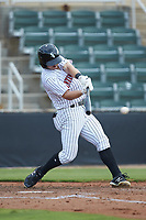 Ian Dawkins (6) of the Kannapolis Intimidators at bat against the West Virginia Power at Kannapolis Intimidators Stadium on July 25, 2018 in Kannapolis, North Carolina. The Intimidators defeated the Power 6-2 in 8 innings in game one of a double-header. (Brian Westerholt/Four Seam Images)