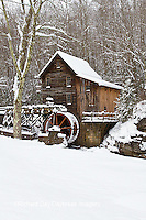 67395-04111 Glade Creek Grist Mill in winter, Babcock State Park, WV