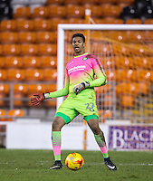 Goalkeeper Jamal Blackman of Wycombe Wanderers during the The Checkatrade Trophy match between Blackpool and Wycombe Wanderers at Bloomfield Road, Blackpool, England on 10 January 2017. Photo by Andy Rowland / PRiME Media Images.